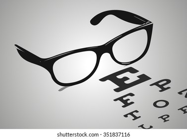 Reading glasses with eye chart vector illustration