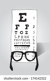 Reading glasses looking at eye test