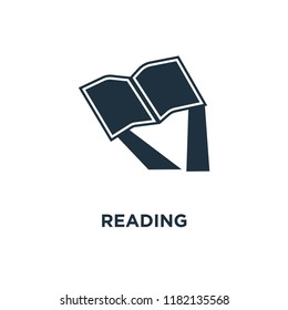 Reading icon. Black filled vector illustration. Reading symbol on white background. Can be used in web and mobile.