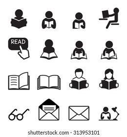 Reading icon set