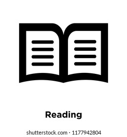 Reading icon vector isolated on white background, logo concept of Reading sign on transparent background, filled black symbol
