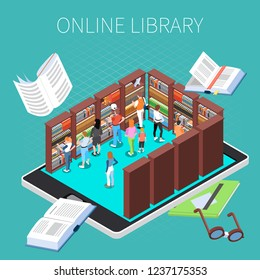 Reading and library composition with online library symbols isometric vector illustration