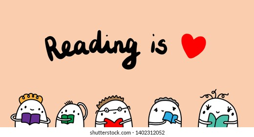 Reading is love hand drawn vector illustration with cartoon man books