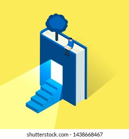 Reading lovers and education themed concept in isometric style, vector. Bookworm related background with house made of opened book