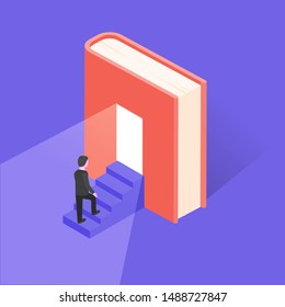 Reading lovers and education themed concept in isometric style, vector. Bookworm related background with house made of book. Training and courses