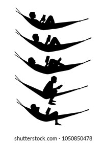 Reading man on hammock silhouette vector set