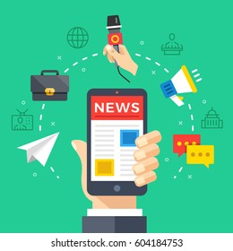 Reading news on mobile phone. Hand holding smartphone with newspaper, news website. Modern flat design graphic elements, thin line icons set for web banner, web site, infographics. Vector illustration