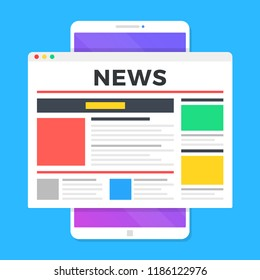 Reading news on smartphone. Online newspaper website opened in mobile browser on smart phone. News app, online media. Modern flat design. Vector illustration
