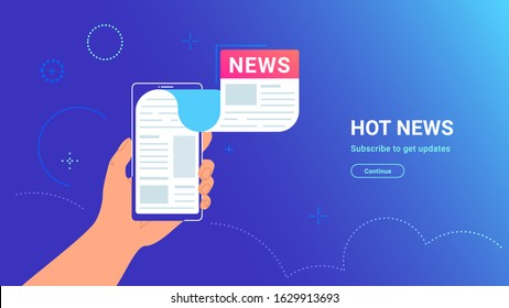 Reading newspaper on smartphone. Vector gradient illustration of human hand holding smartphone with news application flying out of screen. Infographic design for media tracking and sharing news posts