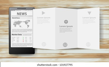 Reading newspaper with smart phone, Creative folded paper modern template design vector illustration