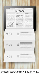 Reading newspaper with tablet computer, Creative folded paper modern template design vector illustration