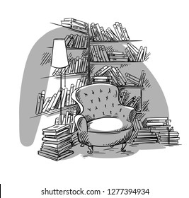 Reading nook, cozy room with bookshelves, vector illustration