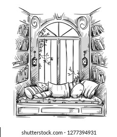 Reading nook, cozy window seat vector drawing