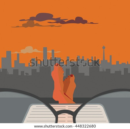 reading in sunset, view at the city
