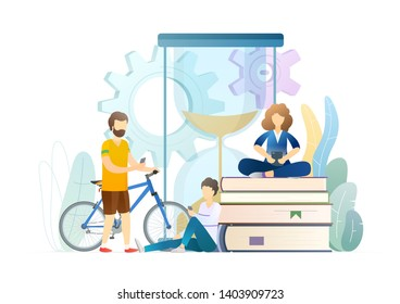 Reading time metaphor flat vector illustration. Parents, son looking at smartphone screen. People wasting time, procrastination. Pastime, leisure, relax with books, acquiring knowledge.