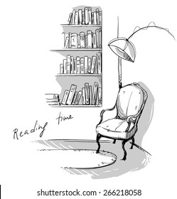 Reading time. A quiet cozy corner at home â?? bookshelves and a chair.