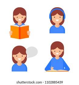 Reading, Writing, Speaking, Listening. Language learning icons, flat style