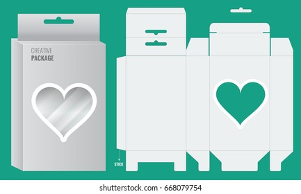 Ready Box design with Shelf Hanging Holes and transparent heart shape window. Die cut blueprint Layout design. Illustrated vector