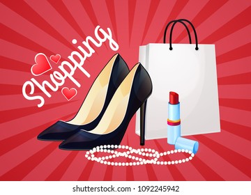 Ready design, logo. Discounts and shopping, fashion for women and girls. Clothes, shoes, cosmetics. Bright red background.