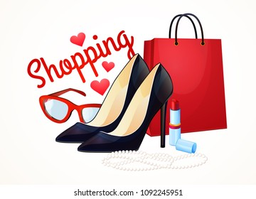 Ready design, logo. Discounts and shopping, fashion for women and girls. Clothes, shoes, cosmetics. Isolated objects without background, on white background.