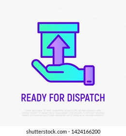 Ready for dispatch thin line icon: hand holding a parcel. Modern vector illustration for delivery service or pick up point.