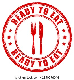 Ready to eat red rubber stamp on white background