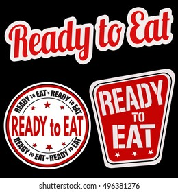 Ready to eat sticker set on black background, vector illustration