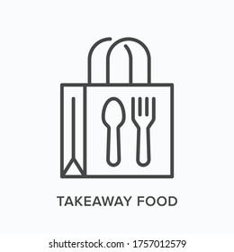 Ready food delivery line icon. Vector outline illustration of takeaway lunch service. Daily meal in papr bag with fork and spoon pictorgam.