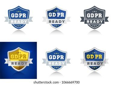 Ready for GDPR General Data Protection Regulation in EU - set of badges for internet business