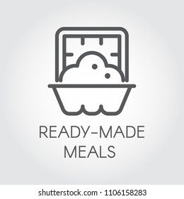 Ready made meals icon. Prepared portion food label concept. Dish in oven graphic web logo. Cooking outline sign. Vector illustration for grocery stores, menu and other thematic sites and mobile apps