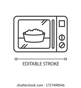 Ready meal pixel perfect linear icon. Microwave food. Heated popcorn in bowl. Meal preparation. Thin line customizable illustration. Contour symbol. Vector isolated outline drawing. Editable stroke