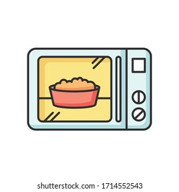 Ready meal RGB color icon. Microwave food. Heated popcorn in bowl. Meal preparation. Kitchenware electric utensils. Oven cooking dish. Quick convenience store snack. Isolated vector illustration