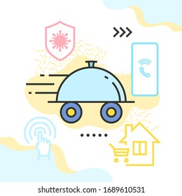 Ready meals delivery due to the COVID-19 quarantine vector illustration. Wheeled salver, shield with virus icon, mobile phone, and house with shopping cart within.