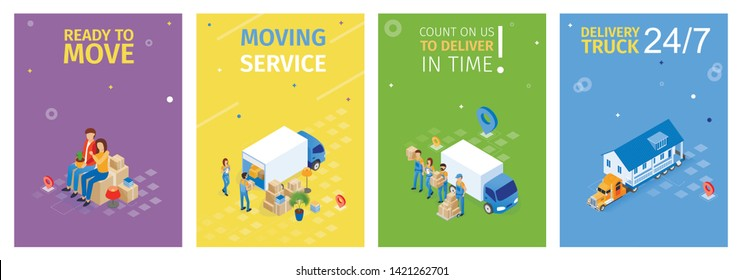 Ready to Move, Moving Service Vector Illustration. Set Count on Us to Deliver in Time Isometric. Banner Flat Inscription Delivery Truck. Family Ordered Service Transportation Things.