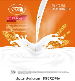Ready Oatmeal ad template layout, with milk pouring white space.