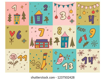 ready to print advent calendar. Christmas doodles pictures for postcards, tags, stickers, wrapping paper
