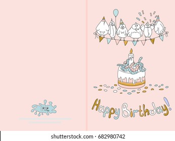 Ready For Print Happy Birthday Card Design With Funny Birds Vector Illustration Delicate Pink