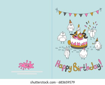 Ready for print happy birthday card design with funny birds. Vector illustration. Delicate blue.