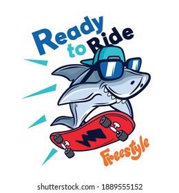 Ready to ride.Skater shark vector print.Skateboard drawing.Fun t-shirt design for kids.Vector illustration design for fashion fabrics, textile graphics, print.