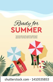 Ready for summer, holiday and tropical vacation poster or greeting card. Vector flat design