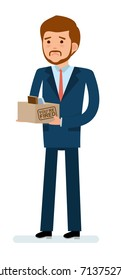Ready to use character creation set. Getting fired. Businessman holding a box with his stuff. Business, office work, workplace. Flat design vector illustration.