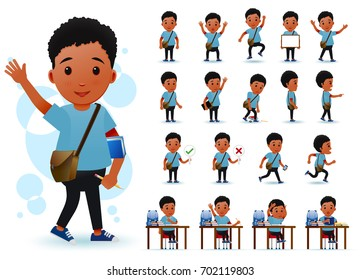 Ready to Use Little Black African Boy Student Character with Different Facial Expressions, Hair Colors, Body Parts and Accessories. Vector Illustration.