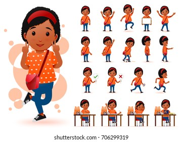 Ready to Use Little Black African Girl Student Character with Different Facial Expressions, Hair Colors, Body Parts and Accessories. Vector Illustration.