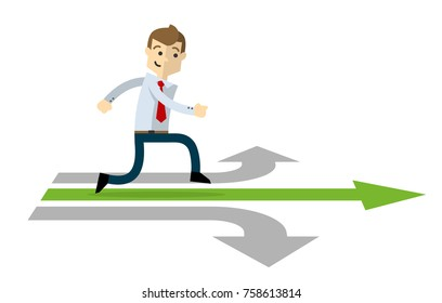Ready to use website illustration or print illustration of a businessman in a right path of his career.