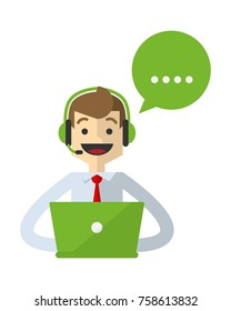 Ready to use website illustration or print illustration of a customer services do his job