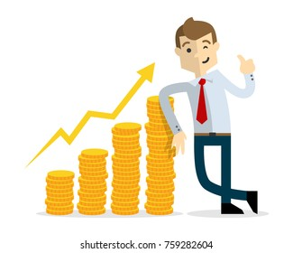 Ready to use website illustration or print illustration of Businessman with gold coins chart