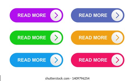 Ready web buttons for use in the field of web design. Vector purple, green, bright blue, blue, orange and pink color buttons on the isolated white background.