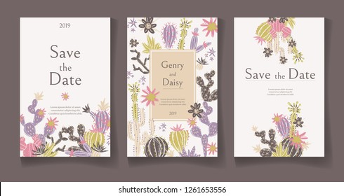 Ready wedding card design template. Beautiful desert blooming succulents. Vector illustration.
