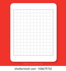 READY TO WRITE one White plain paper printed with table pattern on the red background is ready to use or print for people who would like to write Chinese character.