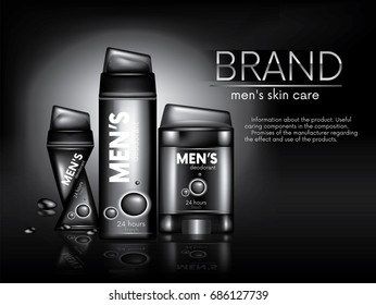 A ready-made concept for an advertising poster of male antiperspirants. Vector illustration with a ball, dry and spray deodorant. Realistic 3D packaging design.